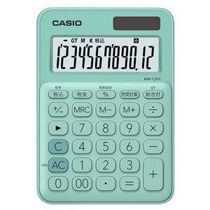 カシオ 電卓 12桁 (ミントグリーン) CASIO カラフル電卓 ミニジャストタイプ MW-C20C-GN 返品種別A|joshin