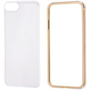 レイ・アウト iPhone 8用 アルミバンパー+背面パネル(クリア)/ ゴールド RT-P14AB/ CGM 返品種別A joshin