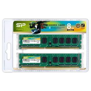 シリコンパワー PC3-12800(DDR3-1600)240pin DDR3 SDRAM DIMM 8GB(4GB×2枚) SP008GBLTU160N22 返品種別B
