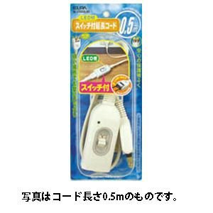 ELPA スイッチ付延長コード(1個口 1.0m) W-S1010B(W) 返品種別A|joshin