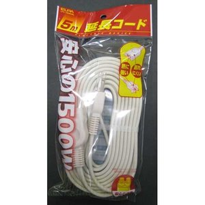 ELPA 延長コード(1個口 5m) LPE-105N(W) 返品種別A|joshin
