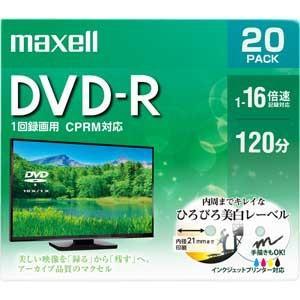 マクセル 16倍速対応DVD-R 20枚パック 4.7GB ホワイトプリンタブル DRD120WPE.20S 返品種別A