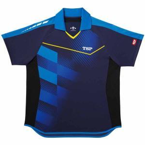 ティーエスピー 卓球用ゲームシャツ(男女兼用)(ネイビー・SSサイズ) TSP スクエアグラデシャツ TSP-031418-0100-SS 返品種別A|joshin