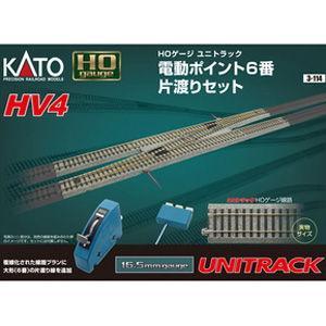 カトー (HO) 3-114 HV-4 HOユニトラック電動ポイント6番片渡りセット 返品種別B