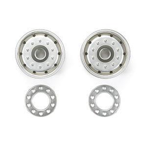 タミヤ 1/ 14 ビックトラックOP&SPシリーズ マットクロームセミワイドホイール(30mm幅タイヤ用)(56520)ラジコンパーツ 返品種別B|joshin