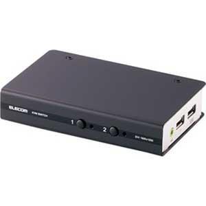 エレコム DVI対応パソコン自動切替器(2台切替) KVM-DVHDU2 返品種別A|joshin
