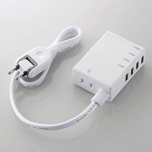 エレコム モバイルUSBタップ(コード付)USB 4ポート(ホワイト) MOT-U06-2144WH 返品種別A|joshin