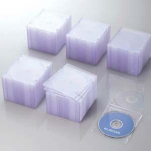 エレコム Blu-ray/ DVD/ CDケース 100枚セット(スリム/ PS/ 1枚収納・クリア...