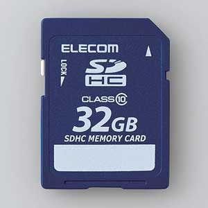 エレコム SDHCメモリーカード 32GB Class10 MF-FSD032GC10R 返品種別A|joshin