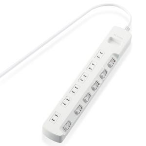 エレコム ほこり防止シャッター付 省エネタップ 個別スイッチ付 2ピン・6個口・1.0m(ホワイト) T-E6A-2610WH 返品種別A joshin