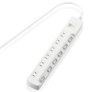 エレコム ほこり防止シャッター付 省エネタップ 個別スイッチ付 2ピン・6個口・3.0m(ホワイト) T-E6A-2630WH 返品種別A|joshin