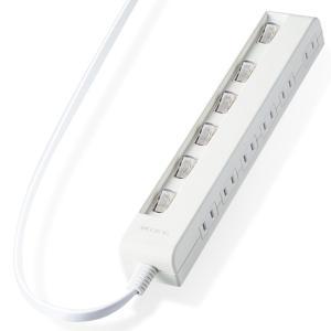 エレコム 個別スイッチ付 省エネタップ 横挿しタイプ 2ピン・6個口・1.0m(ホワイト) T-E5C-2610WH 返品種別A|joshin