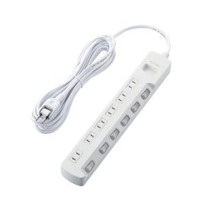 エレコム 個別スイッチ付 雷ガードタップ 2ピン・6個口・5.0m(ホワイト) T-K5A-2650WH 返品種別A joshin