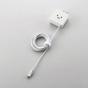 エレコム スマートフォン・タブレット用充電器 microUSBケーブル一体 1.5m 1.8A(フェイス) MPA-ACMBC154WF 返品種別A|joshin