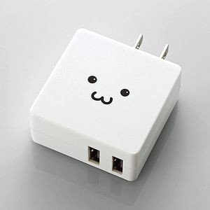 エレコム AC充電器 USBポート2ポート フェイス MPA-ACUCN005WF 返品種別A|joshin