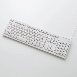 エレコム USB/ PS2接続 スタンダードキーボード (ホワイト) ELECOM TK-FCM064WH/ RS 返品種別A|joshin