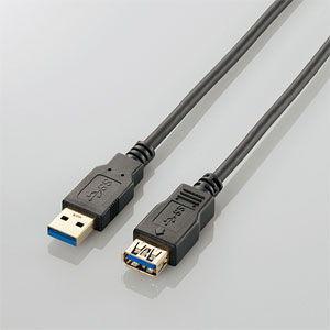 エレコム USB3.0延長ケーブル 1.0m(USB3.0 Aオス - USB3.0 Aメス・ブラック) USB3-E10BK 返品種別A|joshin