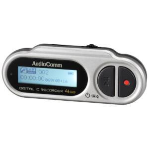 オーム デジタルミニICレコーダー4GBメモリ内蔵 AudioComm OHM ICR-U114N 返品種別A joshin