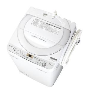 (標準設置 送料無料) シャープ 7.0kg 全自動洗濯機 ホワイト系 SHARP 穴なし槽 ES-GE7C-W 返品種別A|joshin