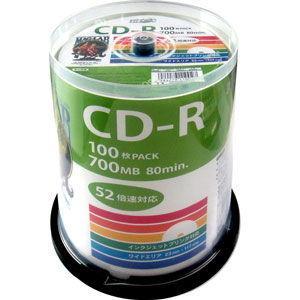 HIDISC データ用700MB 52倍速対応CD-R 100枚パック ホワイトプリンタブル ハイディスク HDCR80GP100 返品種別A|joshin