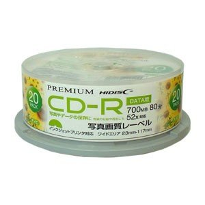 HIDISC データ用 52倍速対応 CD-R 20枚パック700MB ホワイトプリンタブル ハイディスク HDVCR80GP20SN 返品種別A|joshin