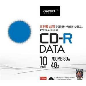 HIDISC データ用700MB 48倍速対応CD-R 10枚パック ワイドプリンタブル TYCR80YP10SC 返品種別A|joshin