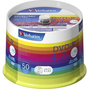 バーベイタム データ用16倍速対応DVD-R 50枚パック 4.7GB シルバーレーベル DHR47J50V1 返品種別A|joshin