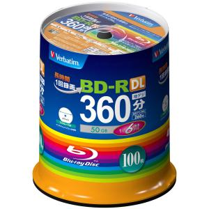 バーベイタム 6倍速対応BD-R DL 100枚パック 50GB ホワイト プリンタブル Verbatim VBR260RP100SV1 返品種別A|joshin