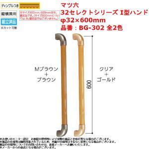 手すり 玄関 階段 室内 屋内 木製 マツ六 BAUHAUS 32セレクトシリーズ I型ハンド 600mm BG-302GC クリア+ゴールド|joule-plus