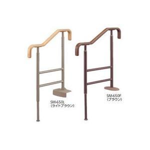 手すり 玄関 上がり框 アロン化成 安寿上がりかまち用手すり ブラウン SM-650F 531-056|joule-plus
