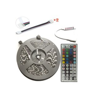 e-auto-fun LEDテープ ライト 5m RGB300連 12V 防水 フルーカラー リモコン 配線付 joyacom