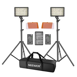 Neewer 2個セット 調光可能な超高出力160 LEDビデオライトキット 2600 mAhバッテ...
