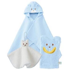 ミキハウス お風呂上がりに  バスポンチョセット  ブルー  5353-090|joyfulgame