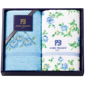 PINO BAZZO フェイスタオル2枚セット PBN-100 ブルー 9235-022|joyfulgame