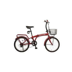TRAILER トレイラー 20インチ 折りたたみ自転車 6段変速 カゴ/カギ/ライト付 レッド色 BGC-F20-RD|joyfulgame