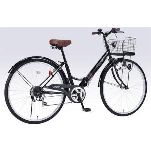 パンクしにくい自転車 肉厚チューブ仕様 26インチ 折り畳み自転車 マイパラス 6段変速付き シティサイクル M-507 マットブラック色|joyfulgame