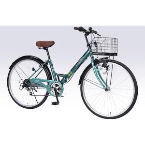 パンクしにくい自転車 肉厚チューブ仕様 26インチ 折り畳み自転車 マイパラス 6段変速付き シティサイクル M-507 グリーン色|joyfulgame