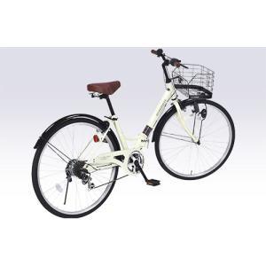 パンクしにくい肉厚チューブ 26インチ 折り畳み自転車 MyPallas マイパラス 6段変速付き シティサイクル M-507 アイボリー色|joyfulgame