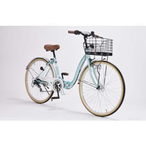 26インチ 折り畳み自転車 軽量設計 低床フレーム マイパラス 6段変速付き シティサイクル M-509 PRINTEMPS クールミント色 M-509MT|joyfulgame