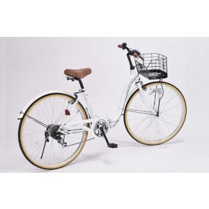 26インチ 折り畳み自転車 軽量設計 低床フレーム MyPallas マイパラス 6段変速付き シティサイクル  PRINTEMPS ホワイト色 M-509W|joyfulgame