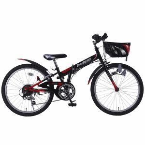24インチ カゴ付 シマノ製6段変速 マウンテンバイク ジュニア  折り畳み子供自転車 マイパラス M-824F ブラック色|joyfulgame