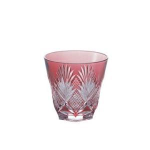 カガミクリスタル 冷酒杯 赤 斜十文字に矢来笹紋 140cc T615-1433CAU|joyfulgame