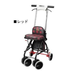 高さ調整(7段階) 自立歩行が可能な方の歩行補助 折りたたみ式 座れる 歩行器 シルバーカー アップダウン (ユーバ産業) UD-0228 レッド色|joyfulgame