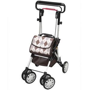 自立歩行が可能な方の歩行補助 折りたたみ式 座れる 歩行器 シルバーカー ウイングライト  (ユーバ産業) WL-0248 ブラウン色|joyfulgame