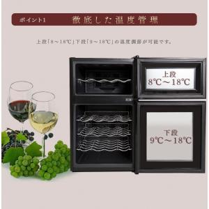 ワインセラー 家庭用 24本 ミラーガラス 2ドア 2温度設定 おしゃれ ペルチェ式 ワイン収納 APWC-69D|joylight|06