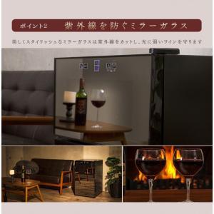 ワインセラー 家庭用 24本 ミラーガラス 2ドア 2温度設定 おしゃれ ペルチェ式 ワイン収納 APWC-69D|joylight|09
