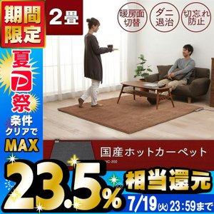 電気カーペット ホットカーペット 本体 国産 2帖 グレー WHC-202...