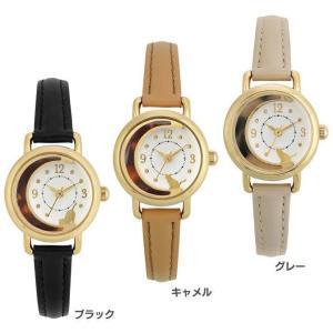 腕時計 猫と三日月 革ベルトウォッチ HL214-BK サン・フレイム (B)|joylight