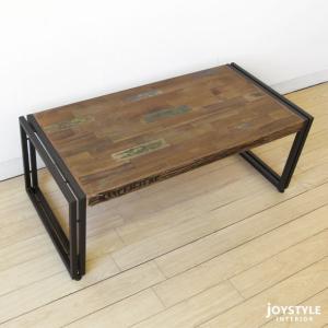 幅100cm オールドチーク材 木製 古材とアイアンを組み合わせた斬新でかっこいいリビングテーブル ローテーブル Sサイズ|joystyleinterior|02