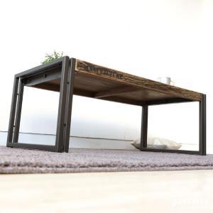 幅100cm オールドチーク材 木製 古材とアイアンを組み合わせた斬新でかっこいいリビングテーブル ローテーブル Sサイズ|joystyleinterior|04